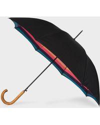 Paul Smith Black 'artist Stripe' Canopy Walker Umbrella With Wooden Handle