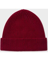 Paul Smith - Burgundy Cashmere-Blend Beanie Hat - Lyst