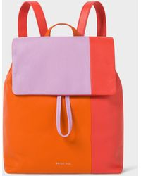 Paul Smith Pink Colour-block Leather Backpack