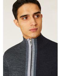 Paul Smith - Ps By Full Zip Stripe Knit Jumper Grey - Lyst