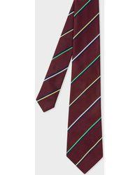 Paul Smith - Burgundy Thin Diagonal Stripe Silk Tie - Lyst