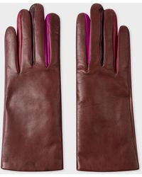 Paul Smith Chocolate Brown Leather 'concertina' Gloves With 'swirl' Piping