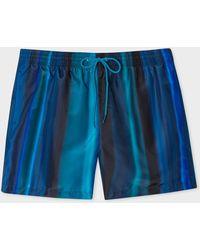 Paul Smith Blue 'horizon' Print Swim Shorts
