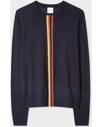 Paul Smith Navy Merino Wool Sweater With 'artist Stripe' Detail - Blue