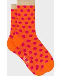 Paul Smith - Women's Orange Glitter 'Ice Pop' Socks - Lyst