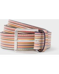 Paul Smith Embossed Signature Stripe Leather Belt - Multicolor