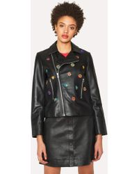 Paul Smith Black Leather Biker Jacket With 'Kyoto Floral' Embroidery