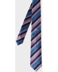 Paul Smith - Purple Multi-Coloured Diagonal Stripe Narrow Silk Tie - Lyst