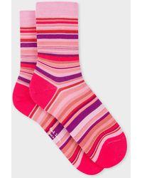 Paul Smith Fuchsia Socks With Multi-coloured Stripes - Pink