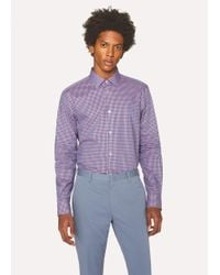 Paul Smith - Tailored-Fit Purple And Pink Check Cotton Shirt - Lyst
