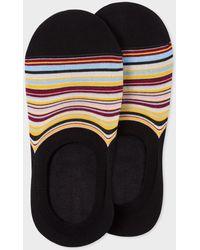 Paul Smith Black Signature Stripe Loafer Socks