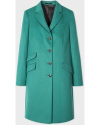 Paul Smith Teal Four-button Wool-cashmere Epsom Coat - Green
