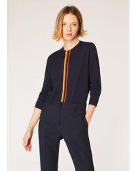 Paul Smith Navy Merino Wool Jumper With 'artist Stripe' Detail - Blue