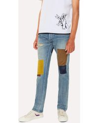Paul Smith - Antique-Wash Patched Red Ear Jeans - Lyst