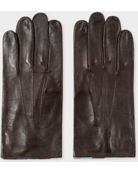 Paul Smith - Men's Chocolate Brown Leather 'artist Stripe' Trim Gloves - Lyst