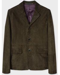 Paul Smith Dark Green Suede Jacket - Verde