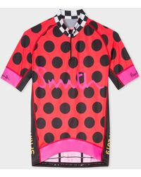 Paul Smith - Red Cycling Jersey With Black Polka Dots - Lyst