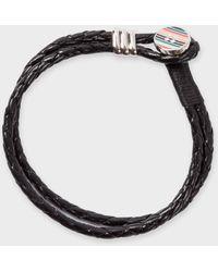 Paul Smith Stripe Button Black Leather Bracelet