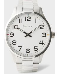 Paul Smith - Men's White And Silver 'tempo' Watch - Lyst