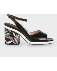 Paul Smith - Black Leather 'Ellery' Heeled Sandals - Lyst