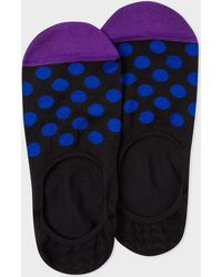 Paul Smith - Black Loafer Socks With Blue Polka Dots - Lyst