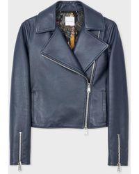 Paul Smith Women's Navy Leather Biker Jacket - Blue