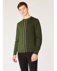 Paul Smith - Khaki Merino-wool Jumper With Tonal Central Stripe - Lyst