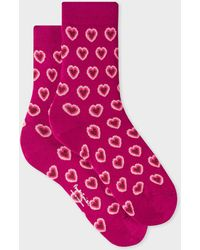 Paul Smith Fuchsia 'heart' Motif Socks - Purple