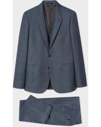 Paul Smith - The Soho - Tailored-Fit Slate Blue Windowpane Check Three-Piece Suit - Lyst