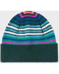Paul Smith - Dark Green Striped Wool Beanie Hat - Lyst
