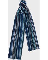 Paul Smith - Écharpe Bleue Texturée 'Signature Stripe' - Lyst