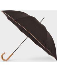 Paul Smith - Black Signature Stripe Border Walker Umbrella With Wooden Handle - Lyst
