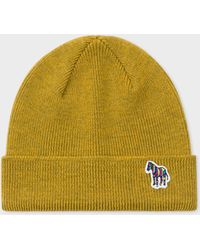 Paul Smith - Mustard 'zebra' Logo Ribbed Lambswool Beanie Hat - Lyst
