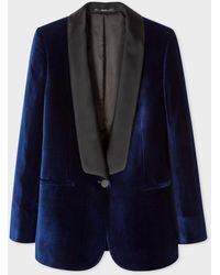 Paul Smith Blazer De Smoking Bleu Marine En Velours Et Col Châle Satiné
