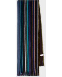Paul Smith Black Multi-coloured Wool Scarf