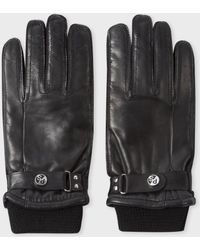 Paul Smith - Men's Black Leather Ribbed Cuff Gloves - Lyst