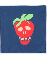 Paul Smith - Men's Navy Large 'strawberry Skull' Print Silk Pocket Square - Lyst