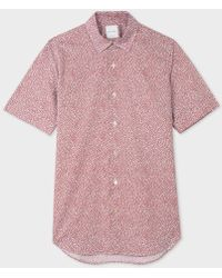 Paul Smith - Men's Tailored-fit Sky Blue And Red 'lips' Print Short-sleeve Shirt - Lyst
