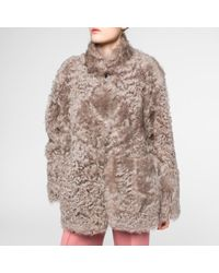 Paul Smith Women's Taupe Short Shearling-sheepskin Coat - Multicolour
