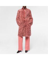 Paul Smith Women's Dusty Pink Long Shearling-sheepskin Coat