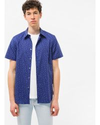 Paul Smith - Men's Tailored-fit Navy 'cactus' Print Short-sleeve Shirt - Lyst