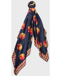 Paul Smith Women s Navy  peaches  And  peach Stone  Print Silk Scarf ... 05f1851c3fe