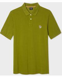 Paul Smith Polo Kaki Logo Zèbre En Coton Piqué Bio - Vert