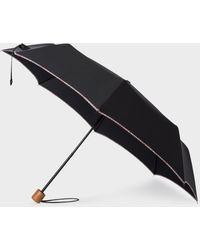 Paul Smith Black Telescopic Umbrella With 'signature Stripe' Trims