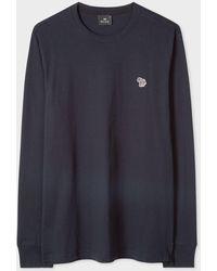 Paul Smith Long Sleeve Zebra Logo Tee - Blue