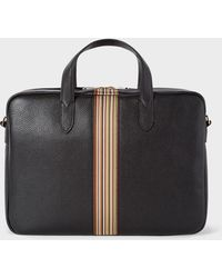 Paul Smith Artist Stripe Leather Satchel - Black
