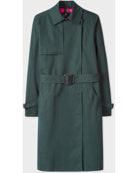Paul Smith - Dark Green Cotton Belted Mac - Lyst