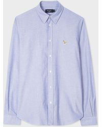 Paul Smith - Tailored-Fit Blue Zebra Logo Oxford Shirt - Lyst