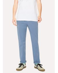 Paul Smith - Men's Slim-Fit Slate Blue Cotton-Twill Stretch Chinos - Lyst