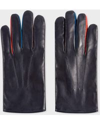 Paul Smith Navy Lamb Leather Concertina Gloves With Red Piping - Blue